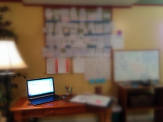 The blurred mess of a writer's mind. My husband worries that I'm plotting his assassination when I do this.