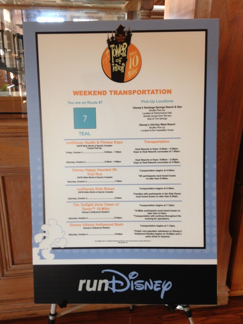 Tip: Take a picture of the runDisney schedule in your resort's lobby!