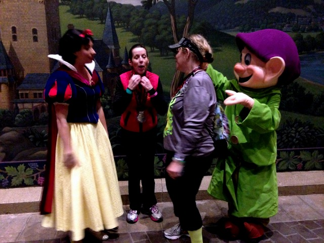 Explaining to Snow White and Dopey how cold the race was.
