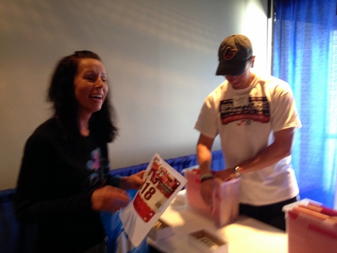 Me getting my bib. Yeah, I was little excited!